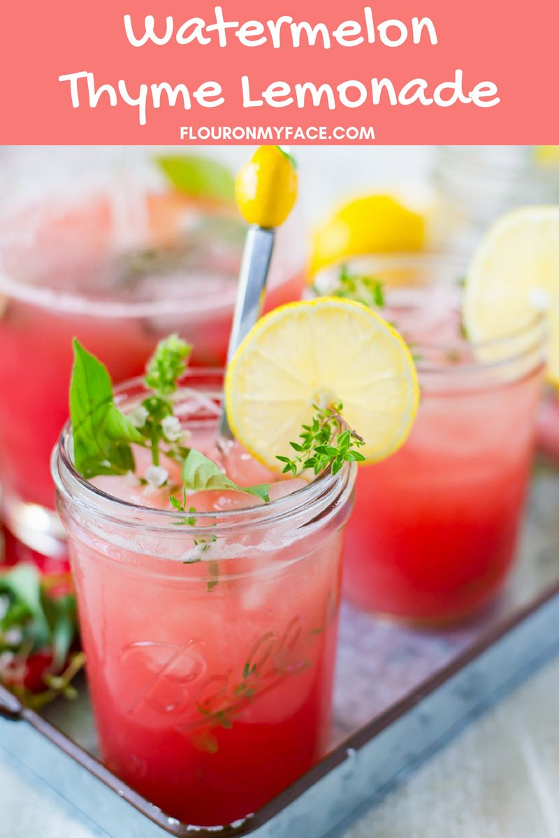 Refreshing Watermelon Thyme Lemonade Recipe - Flour On My Face