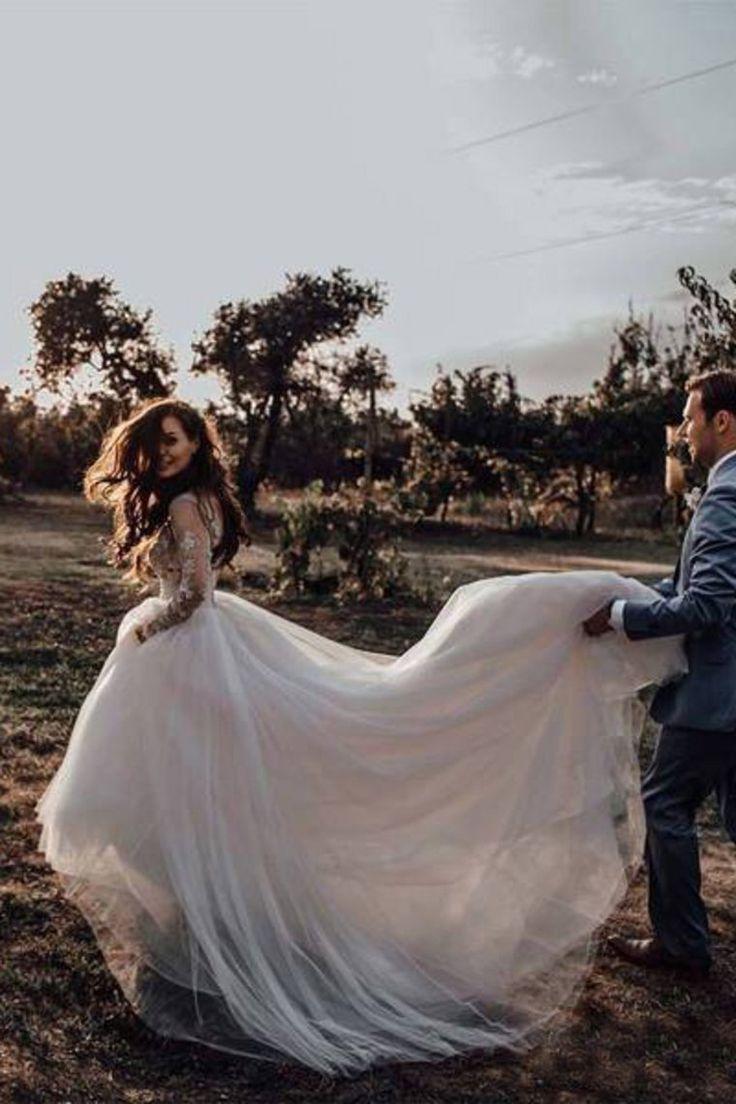 A-Linie Elegant Durchsichtig Langarm Brautkleider Spitze Applique Brautkleid OW437 #spitzeapplique