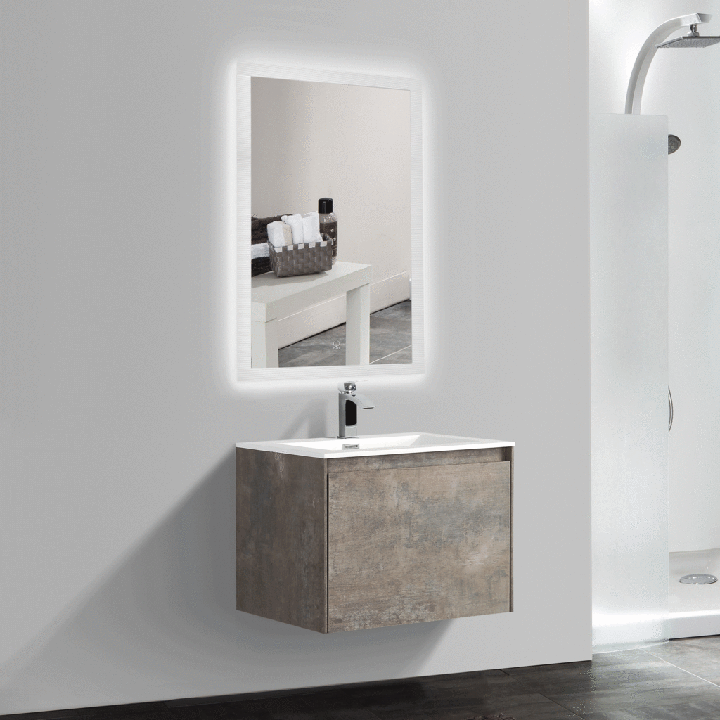 Bai vanity set of cabinet basin led mirror rustic stone