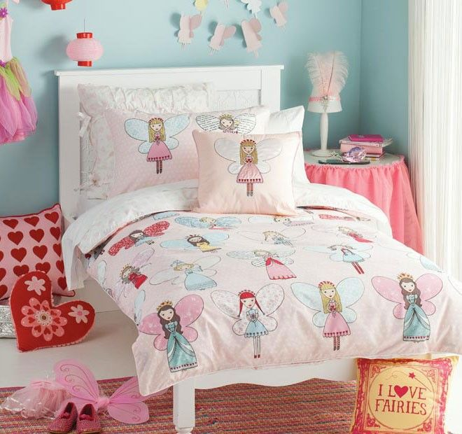 Fairy Pixie Butterfly Pink Polycotton Fabric Childrens Cute