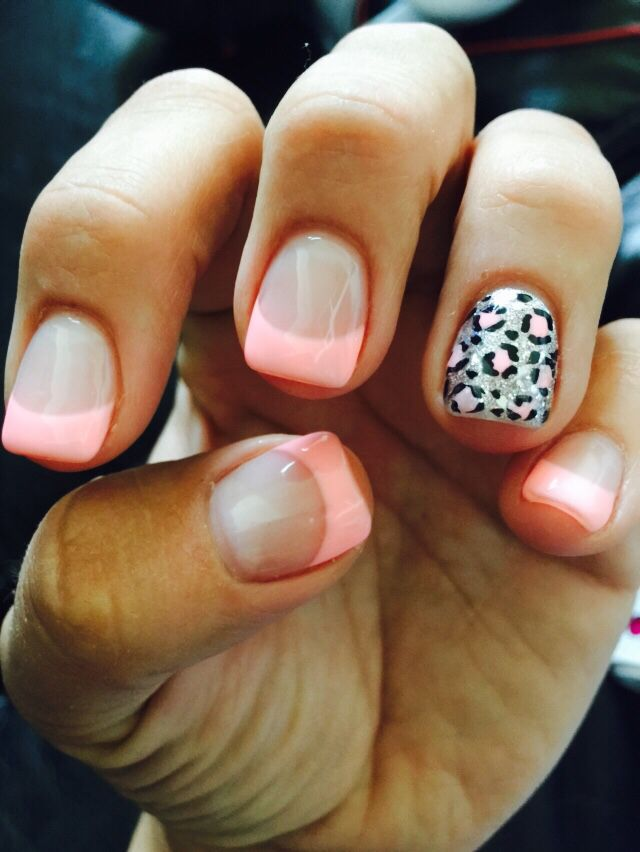 Light pink French manicure with leopard accent nail ...
