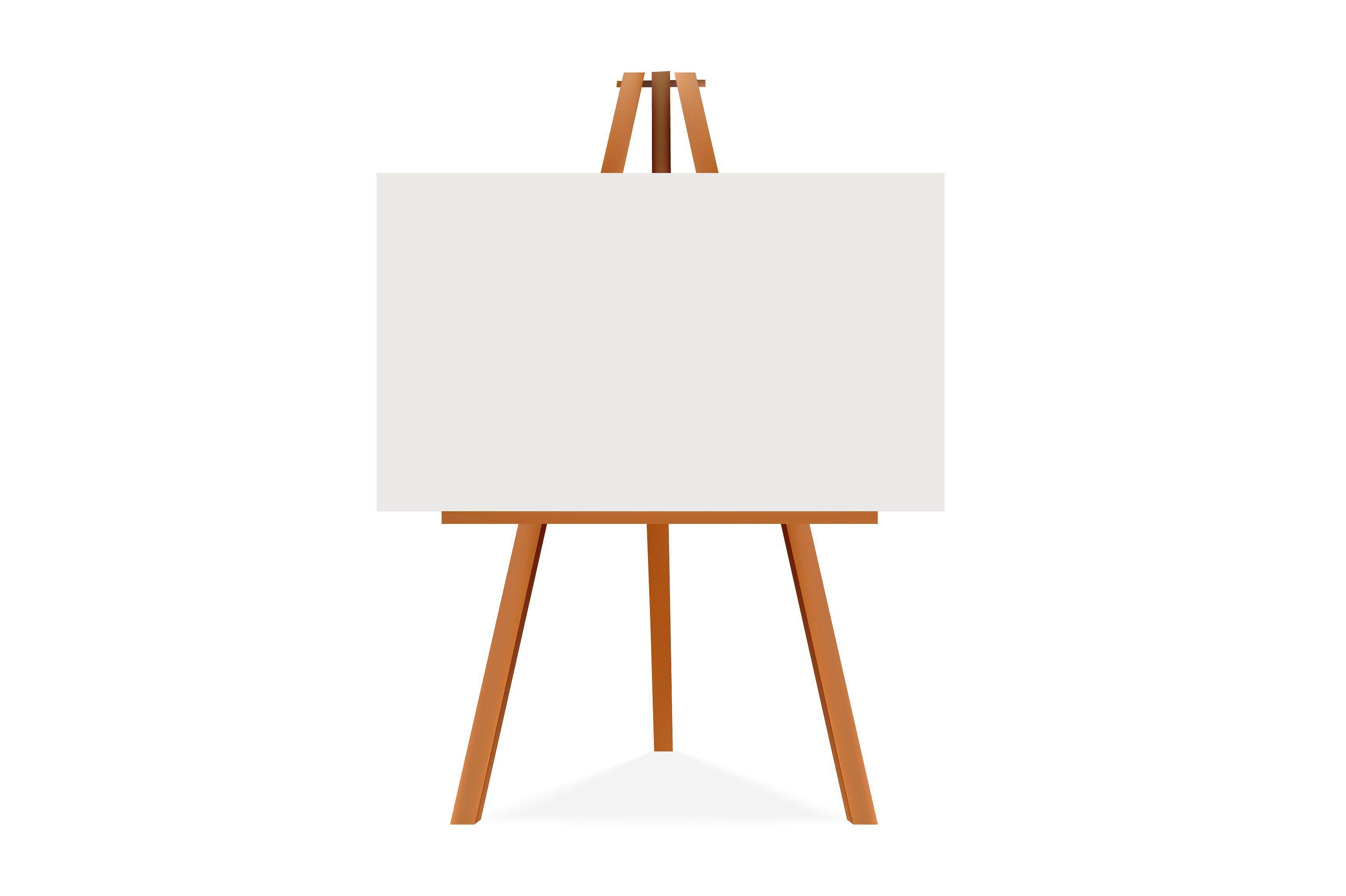 Easel Illustration Canvas Blank Space Wooden Adjustable Easel Art Easel Blank Photo
