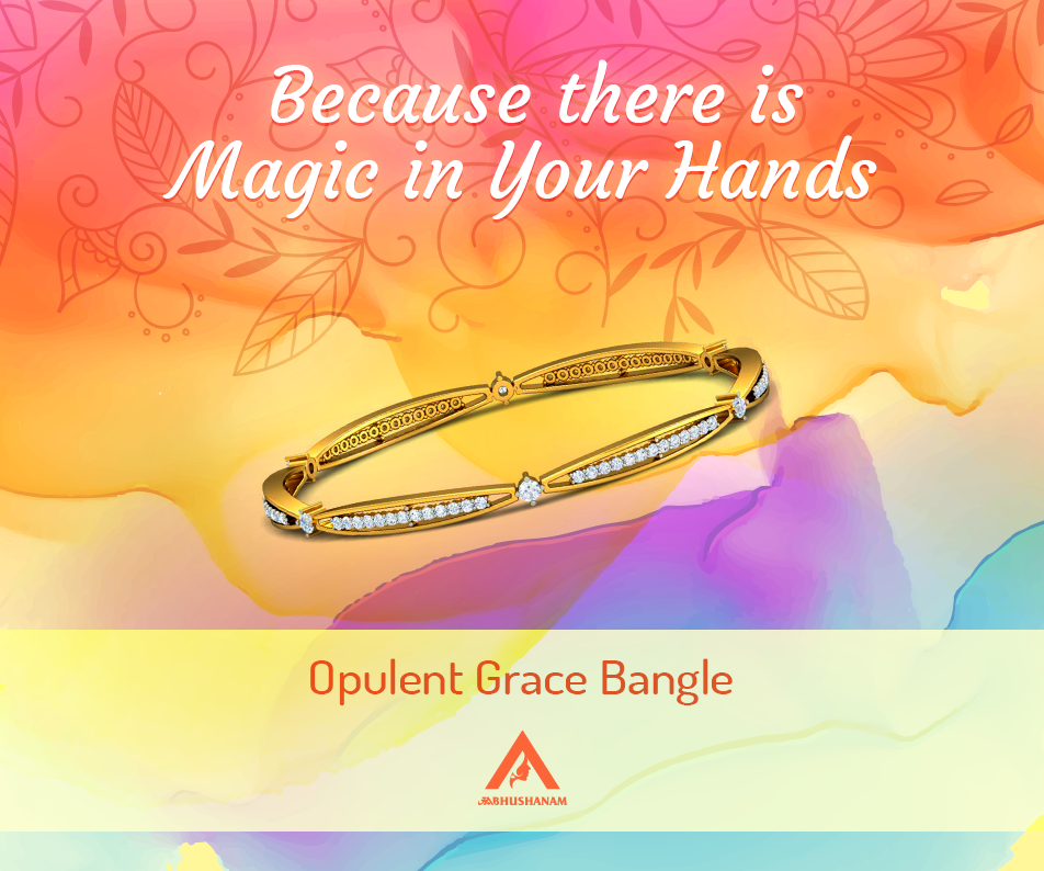 The Opulent Grace Bangles - An 18 kt Yellow Gold Set of 2 Bangles studded with 168 Diamonds is for those who believe in living kingsize. Explore here: https://aabhushanam.in/collections/bangles/products/opulent-grace-bangles-ab-27