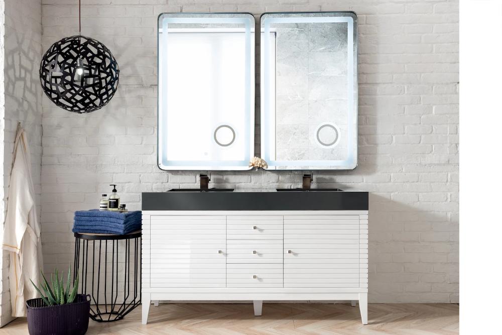 59 Linear Double Sink Bathroom Vanity Glossy White Vanity