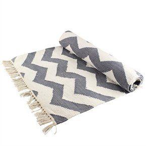 Teppich grau muster  Teppich, grau-weiß, zick-zack-Muster, 60 x 140 cm: Amazon.de ...