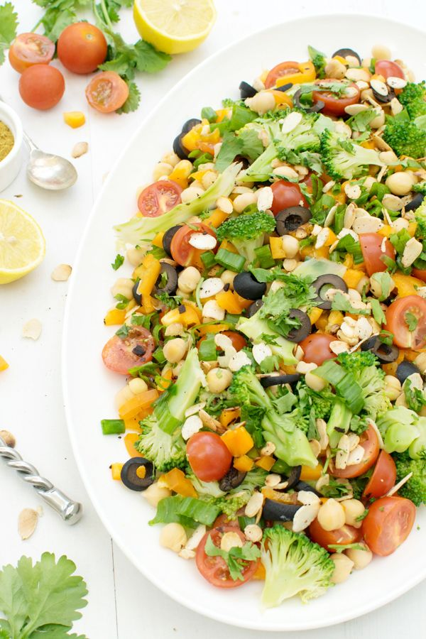 Zesty Chickpea Broccoli Salad With Curried Vinaigrette Vegan