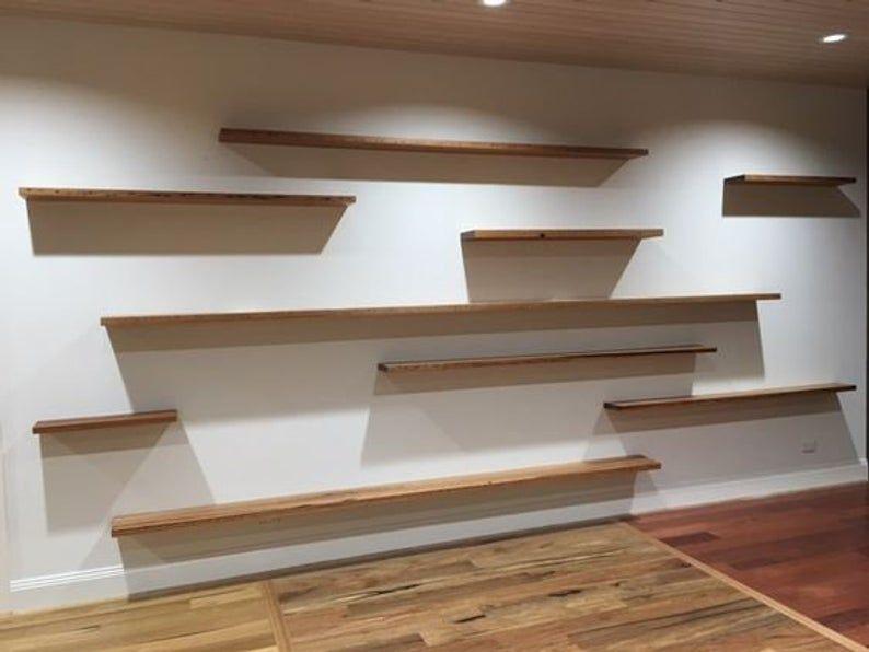 Elegant Narrow Floating Shelves From Natural Pine Wood Etsy Floating Shelves Living Room Timber Shelves Shelves