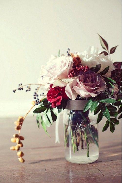 Bouquet in jelly jar