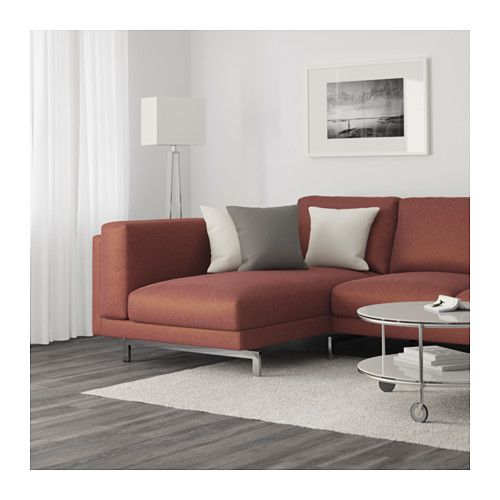 nockeby 3 seat sofa with chaise longue left tallmyra white black chrome plated couch comfort. Black Bedroom Furniture Sets. Home Design Ideas