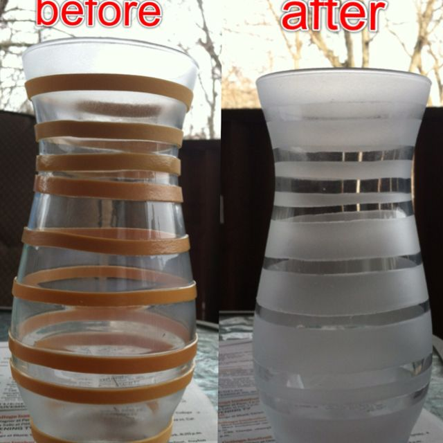 Frosted Glass Spray Paint Dollar Store Vase And Rubberbands For
