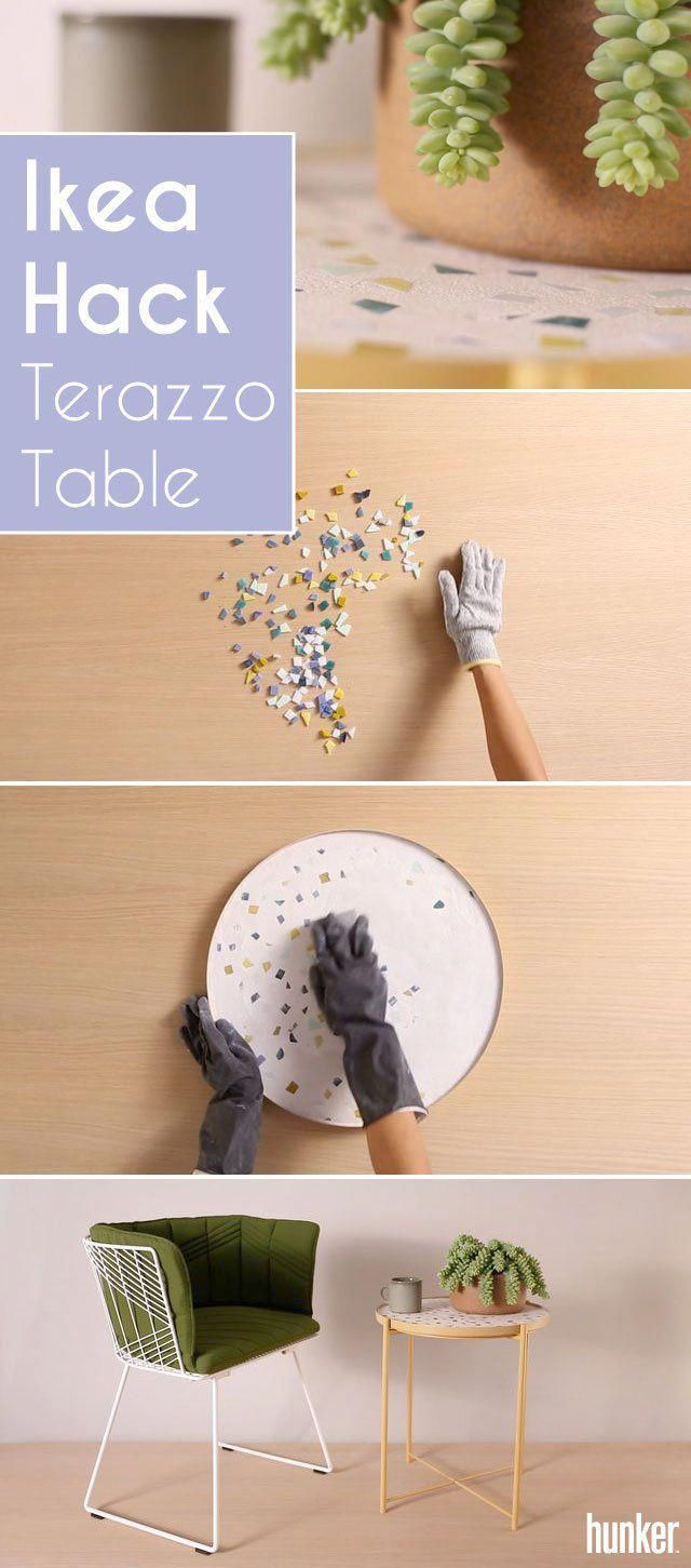Create a Terrazzo Table With This Clever Ikea Hack is part of Home Accents Ikea Hacks - Make a oneofakind terrazzoesque piece by turning this affordable Ikea tray table into the accent table of your dreams