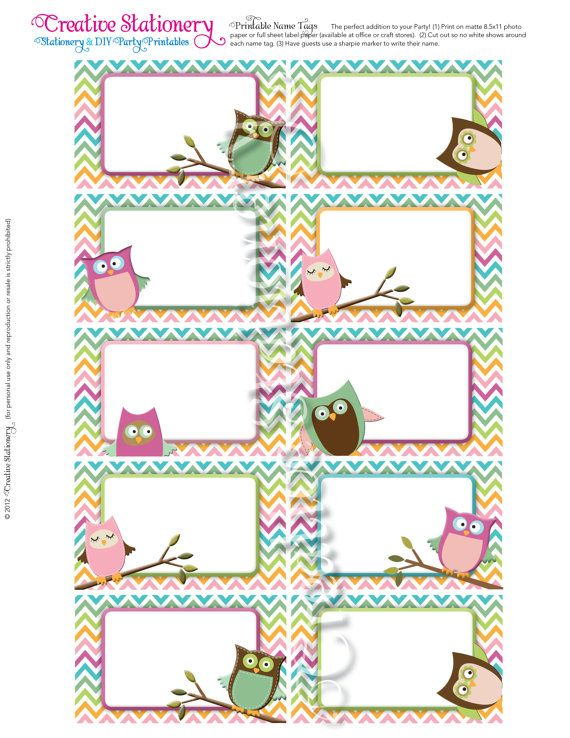 Owl Baby Shower Name Tags Pink Orange Green By Creativestationery