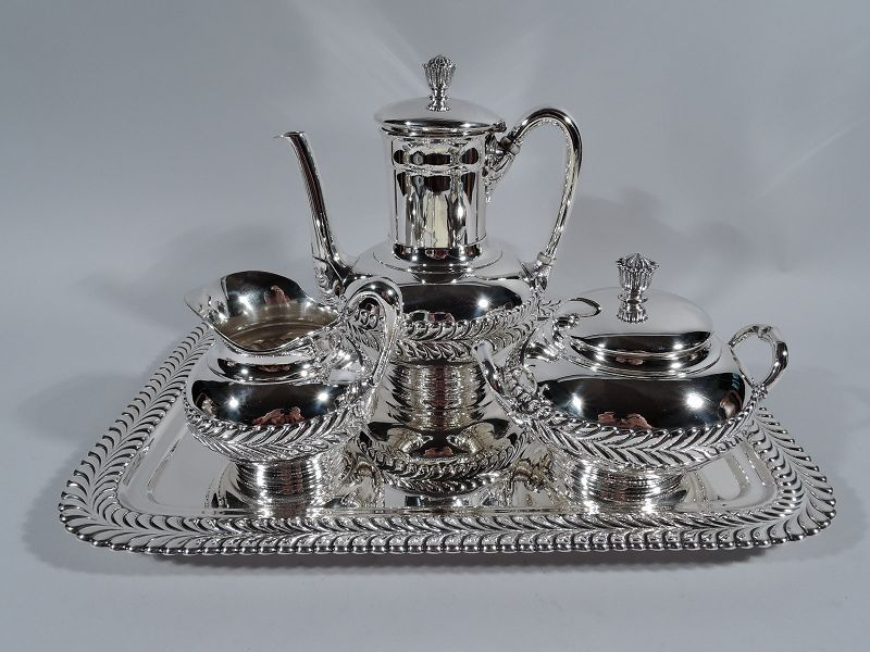 Antique tiffany sterling silver coffee set on tray