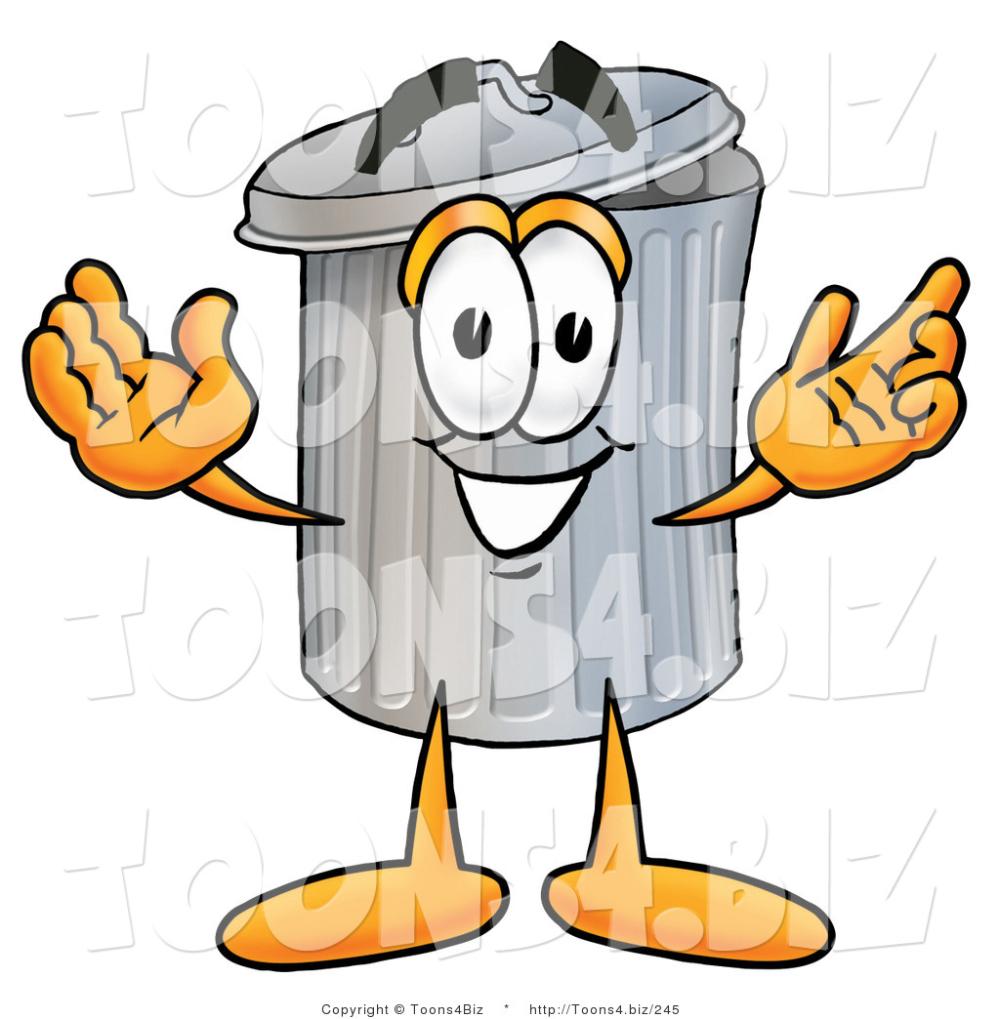 Illustration Of A Cartoon Trash Can Mascot With Welcoming Open Arms A Cartoon Mascot Trash Can