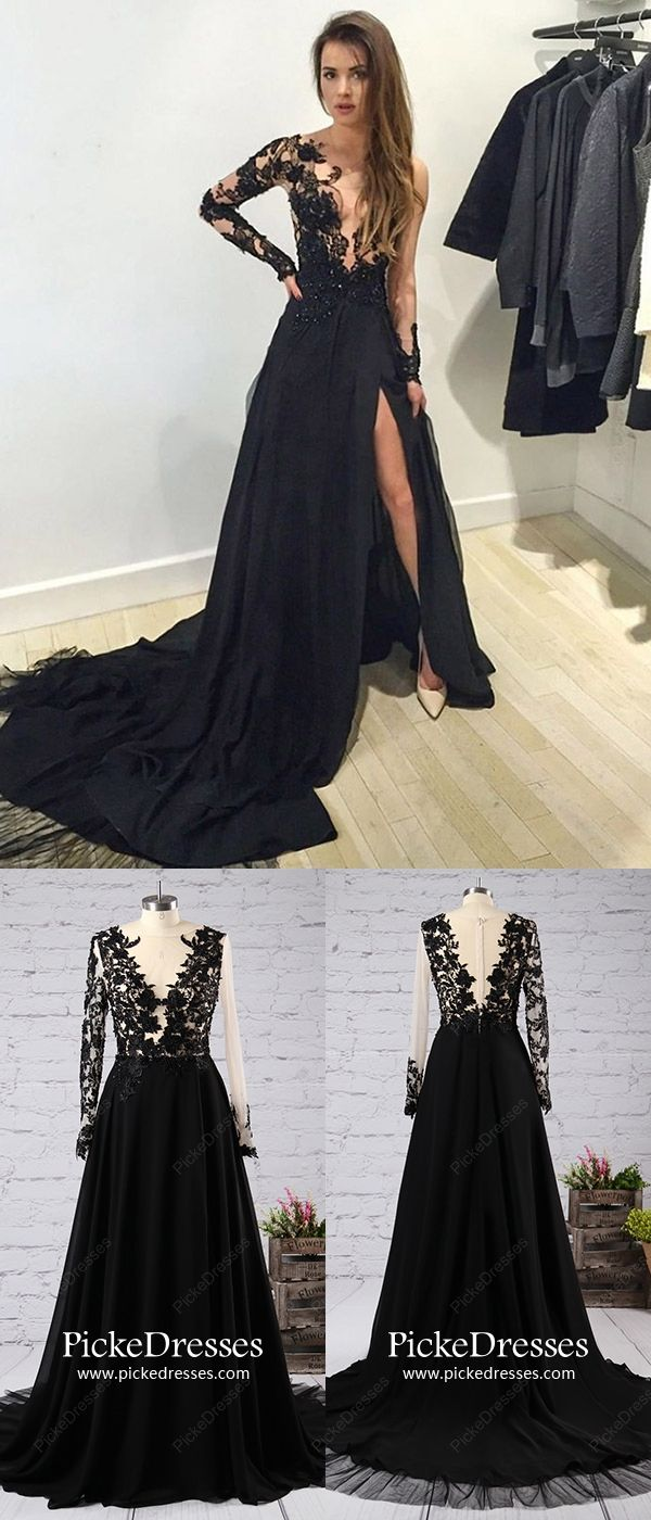 Long prom dresses with sleeves black evening dresses with slit
