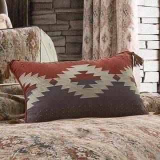 Five Queens Court Baldwin Boudoir Decorative Throw Pillow (Rust), Orange(Polyester, Medallion)