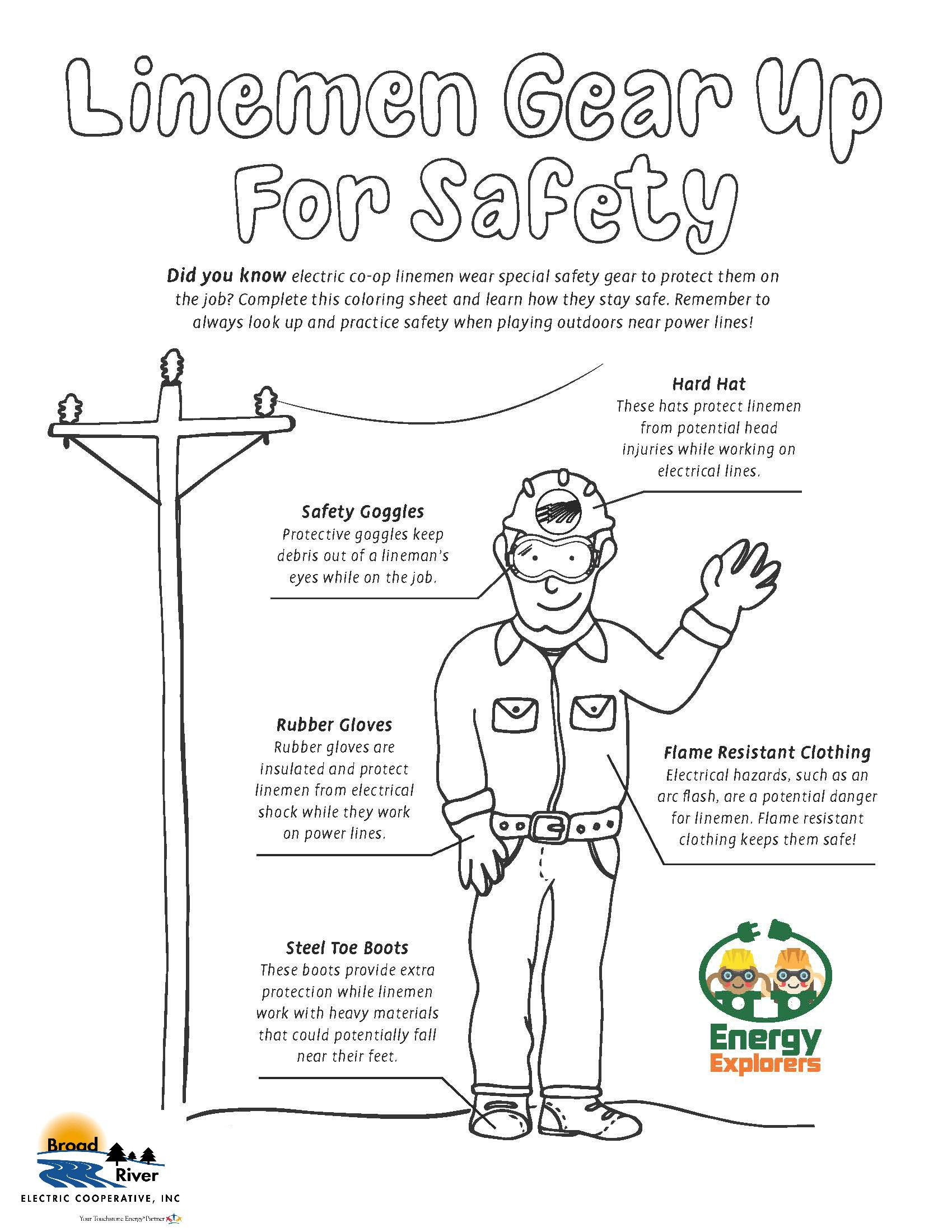 Energy Explorers Coloring Sheet Lineman Gear With Images