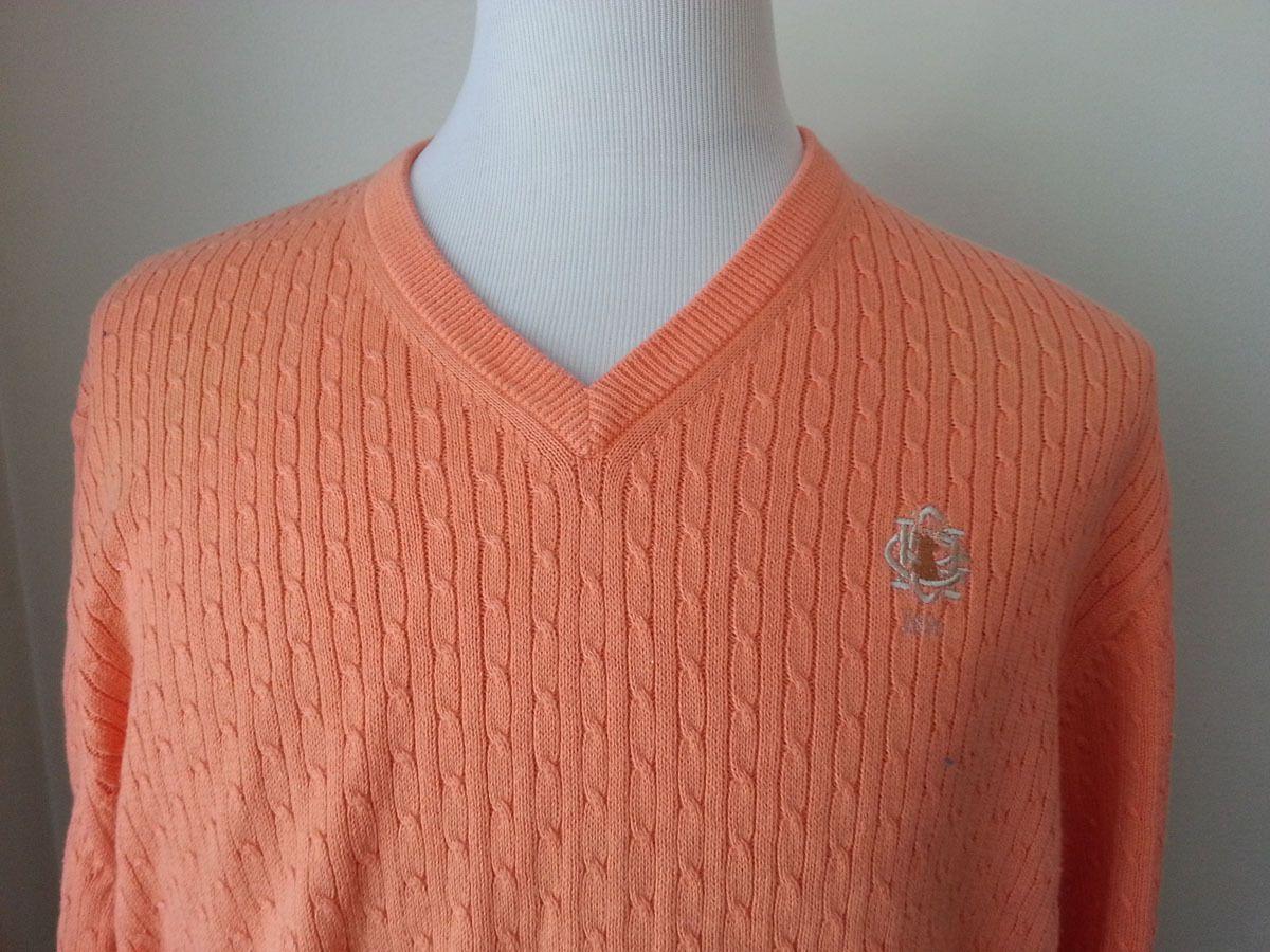 Details about Orange V-Neck Sweater 100% Cotton Size L Long ...