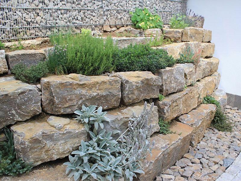 Muschelkalk Steinmauer garten, Garten, Muschelkalk