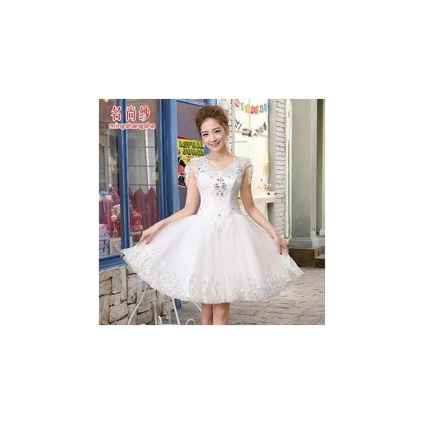 Diamante Cap Sleeve Short Wedding Dress 75 Liked On Polyvore Featuring Dresses