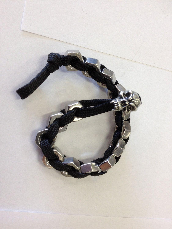 Paracord stainless steel hex nut bracelet. $19,99, via Etsy.