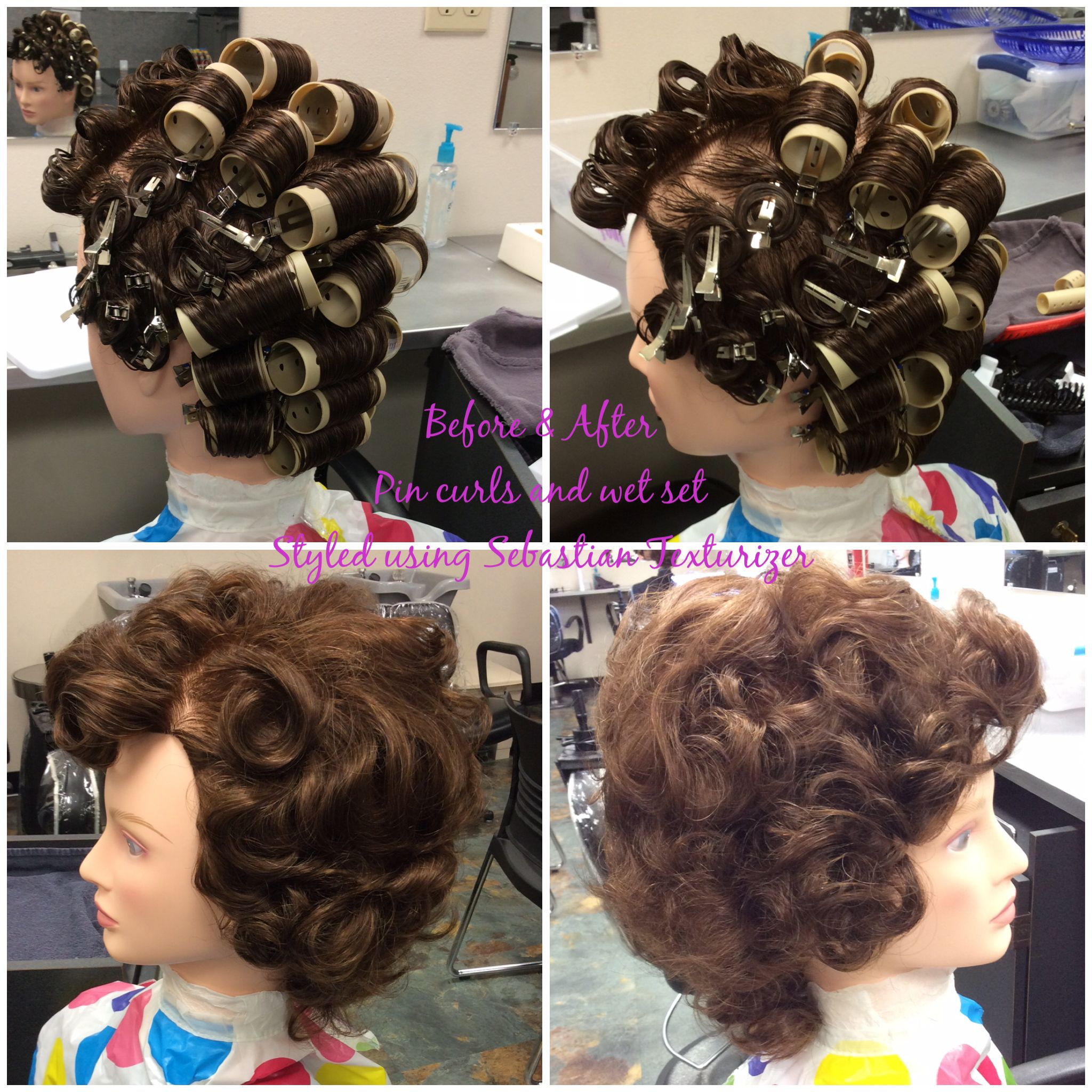 Pin curls and wet set with Sebastian Texturizer