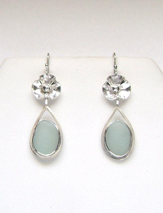 Sea Glass Jewelry  Sterling Blue Sea Glass by SignetureLine, $75.00