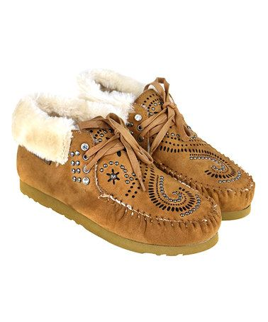 Love this Brown Swirl Stud Faux-Fur Lined Moccasin on #zulily! #zulilyfinds