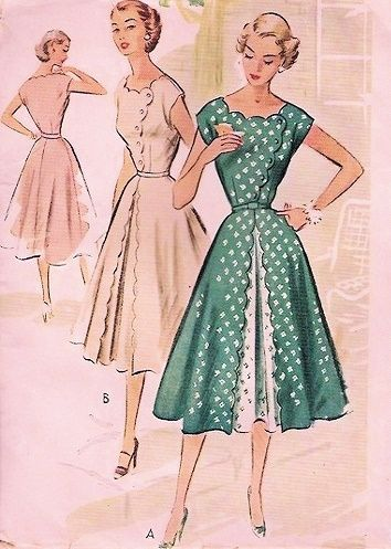 1950s McCalls Pattern 8940 Beautiful Dress Scallop Edge Front Inverted Pleat Side Closing Flattering Style