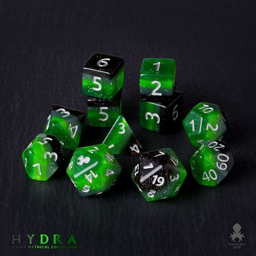Hydra 12pc Silver Ink Dice Set With Kraken Logo Kraken