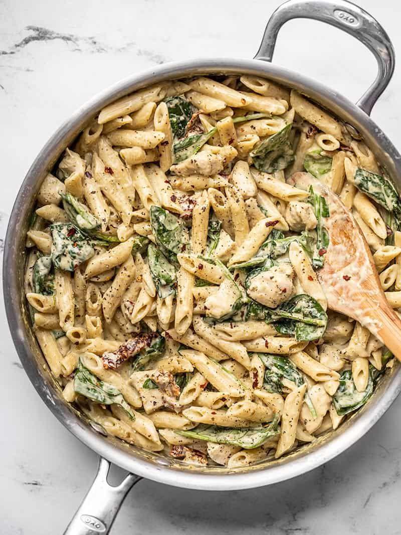 One Pot Creamy Pesto Chicken Pasta Recipe Budget Bytes Recipe Pesto Chicken Pasta Pesto Pasta Recipes Chicken Pesto Pasta Recipes