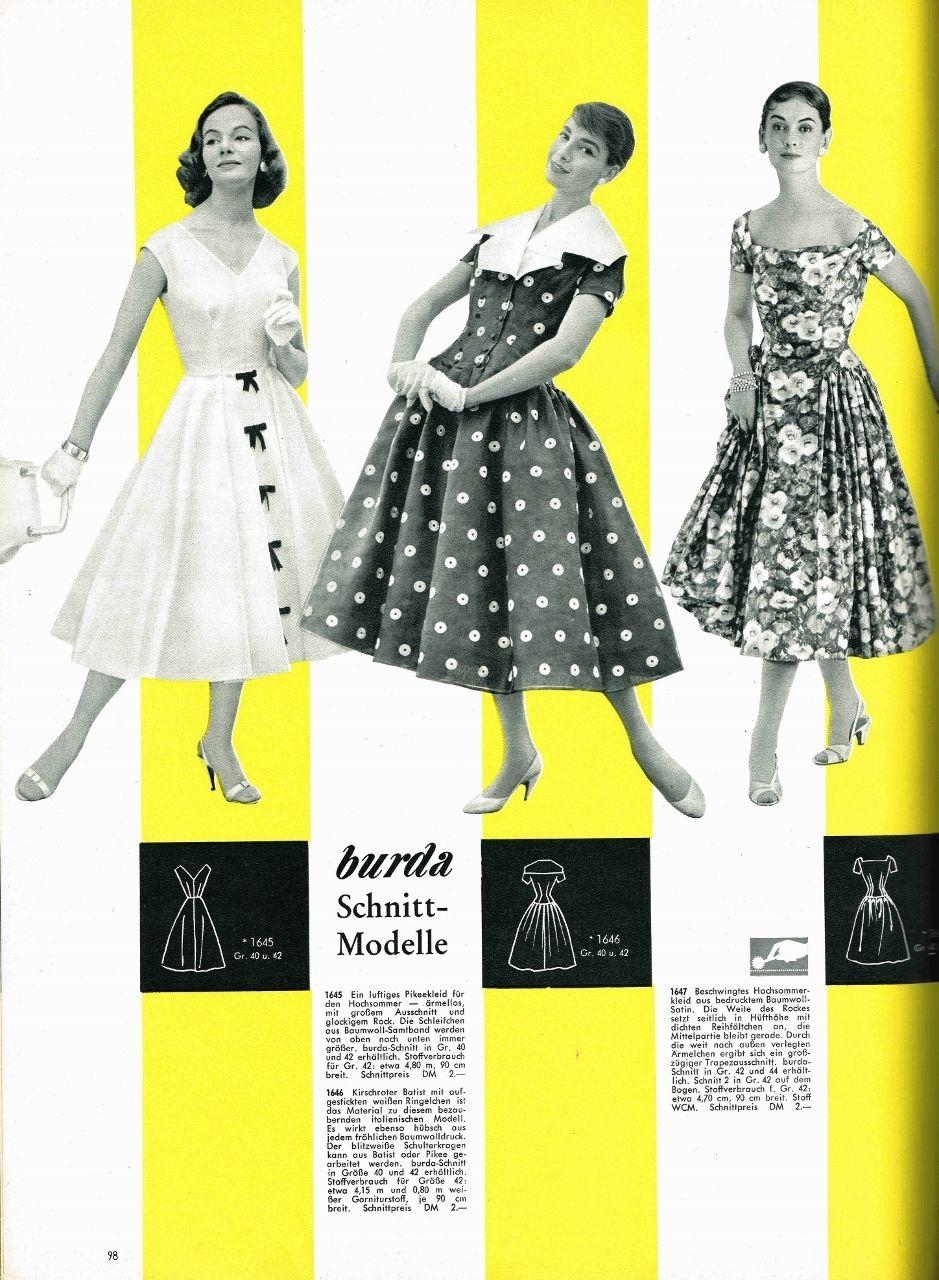 Burda Moden International Frühling/Sommer 1957 Schnittmuster ...