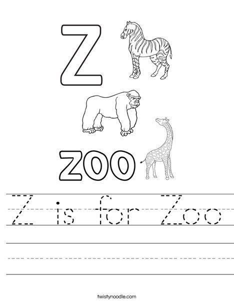 Z Is For Zoo Worksheet Twisty Noodle Kindergarten Worksheets Zoo Preschool Free Preschool Worksheets