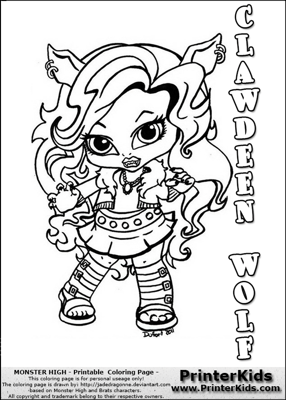 coloring page with clawdeen wolf from monster high this printable colouring sheet show a cute baby or chibi version of clawdeen wold standi - Monster High Coloring Pages Baby