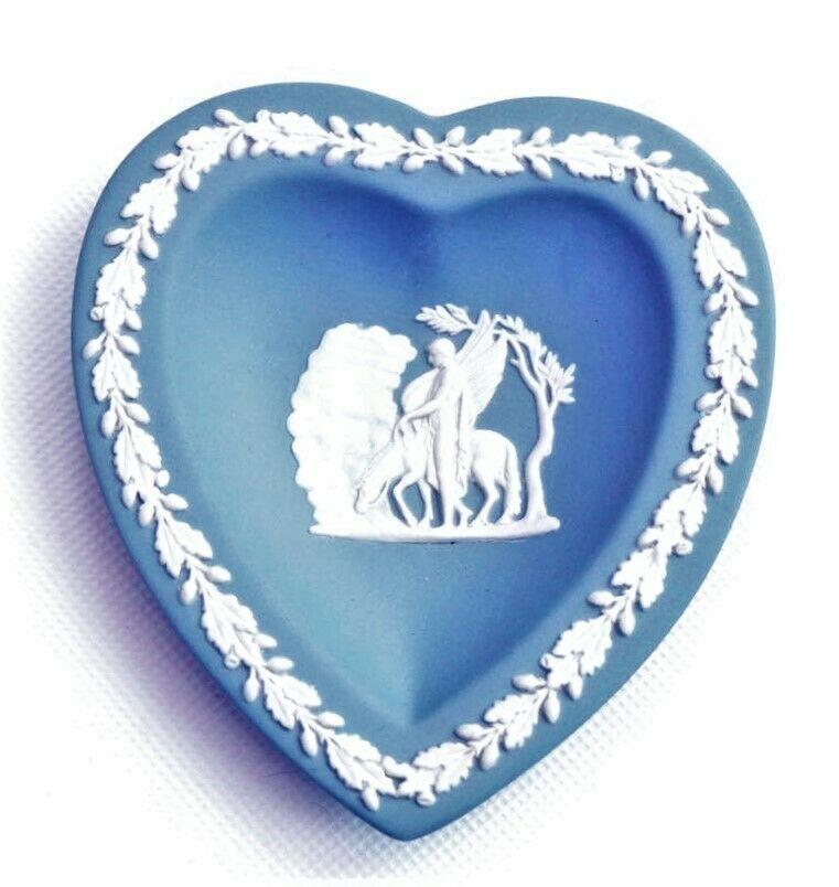 Wedgwood Blue Jasperware Figural Heart Dish