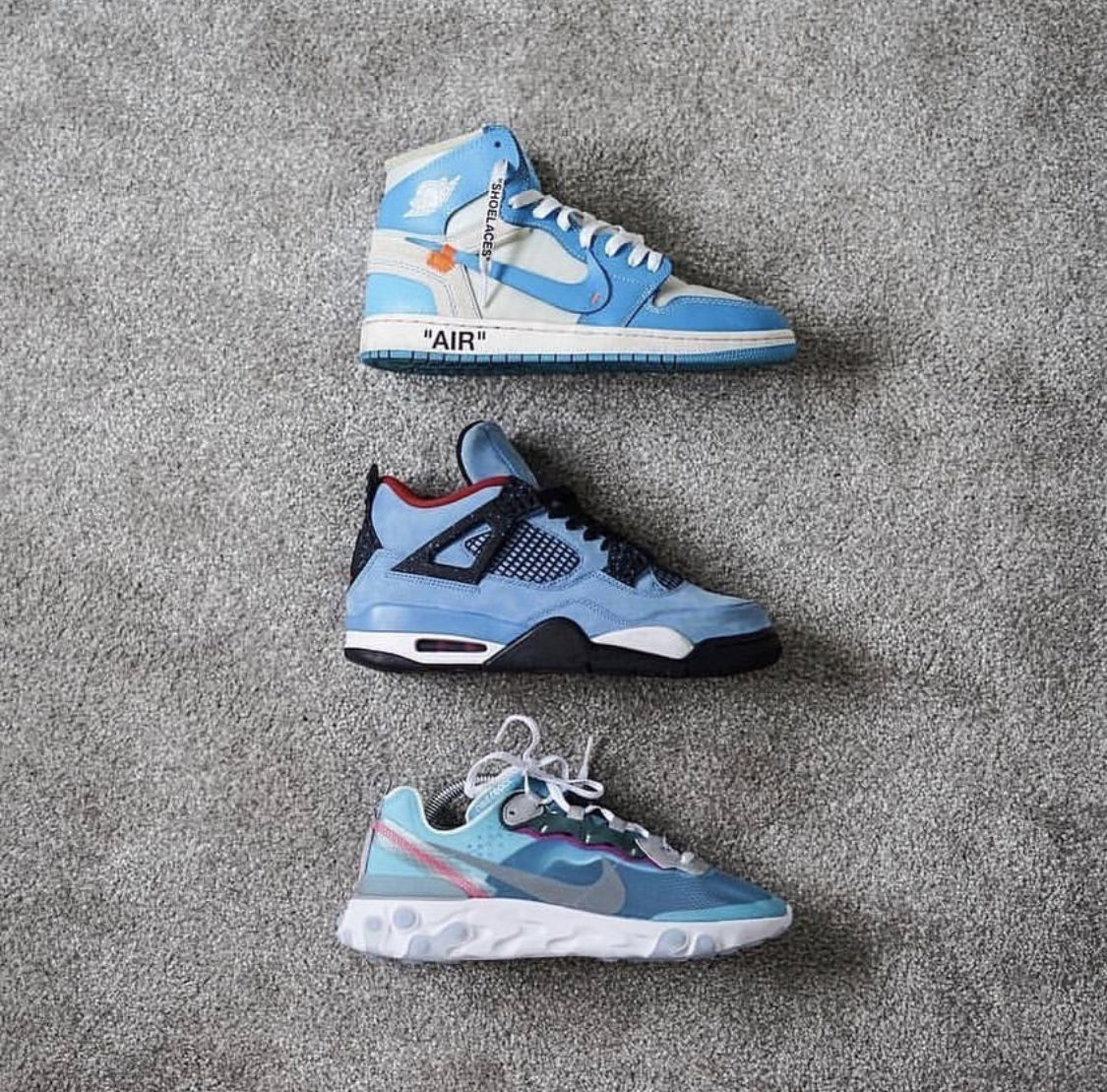 "uk availability 4ed79 91820 Off White x Air Jordan 1 ""UNC Air Jordan 4 ""Cactus Jack"" Nike React Element  87"