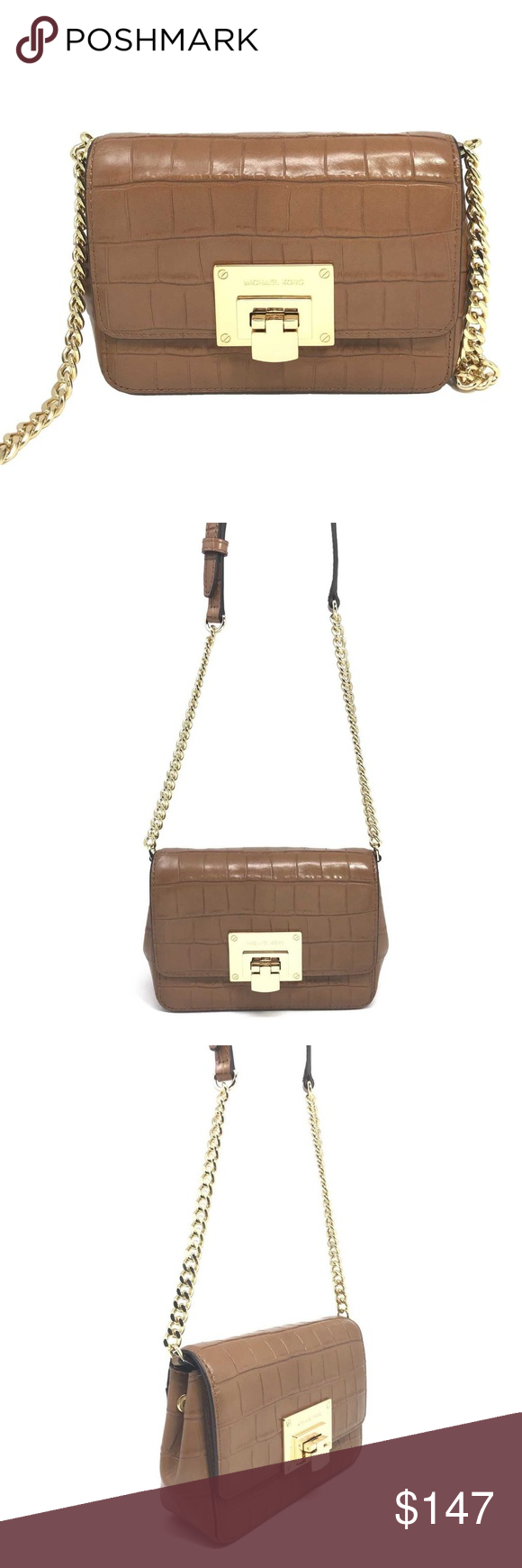 5e7f9a6e5a0ae1 Michael Kors Tina Small Clutch Walnut Crossbody Michael Kors Tina Small  Clutch Walnut Embossed Leather Crossbody