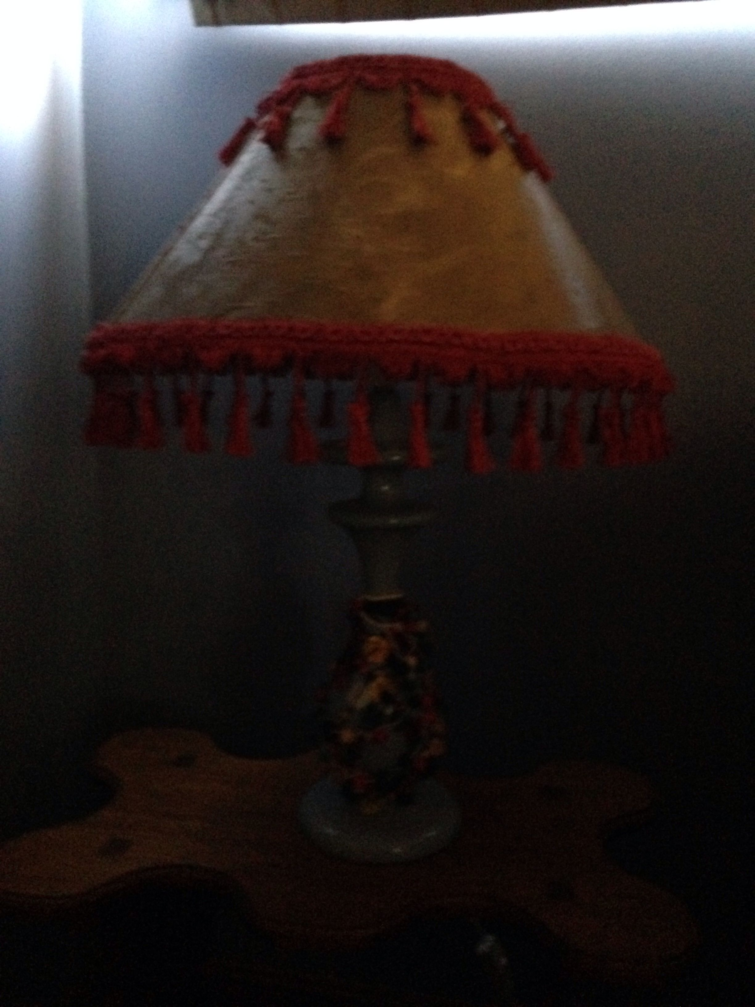 An upcycled lampshade simply with gold paint and tassels!