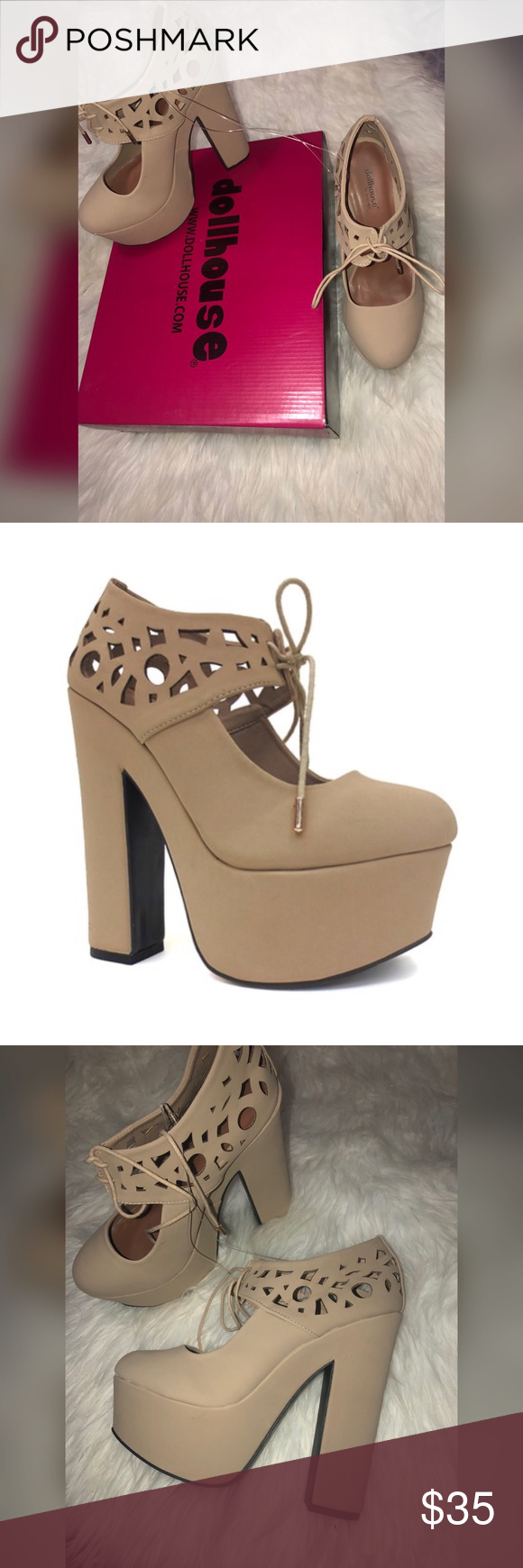 DOLLHOUSE Nude Platform CutOut Heels Perfect condition NWT, size 7 & 8  flaws are pictured