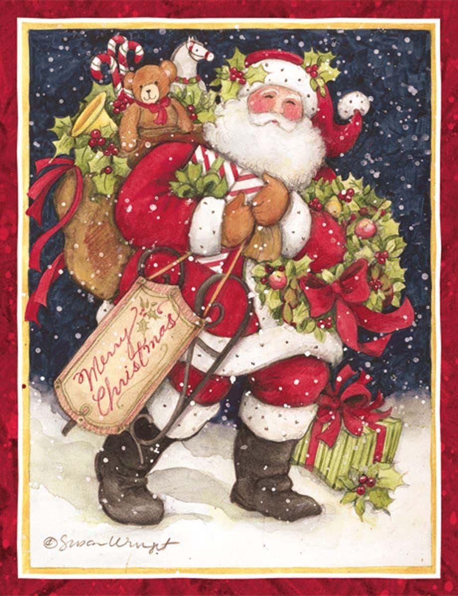 Snowy Night Santa Christmas Cards , 1004683 Lang Boxed
