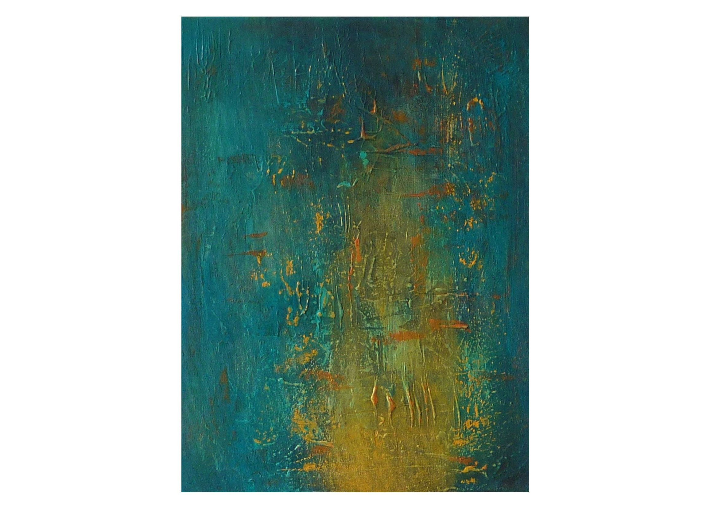 Original teal blue yellow abstract painting texture canvas artwork