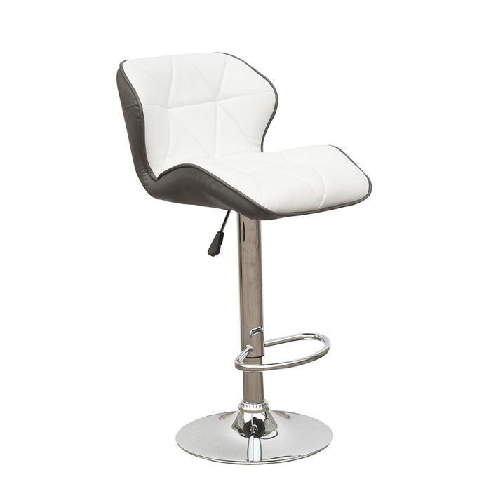 maya lot de 2 tabourets de bar blanc gris achat vente tabouret de bar pu acier chrom bois. Black Bedroom Furniture Sets. Home Design Ideas