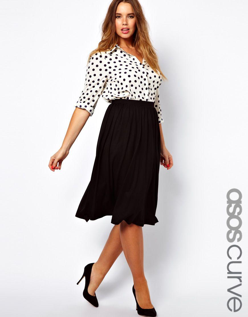 new specials store huge sale ASOS Curve | ASOS CURVE Full Skater Skirt in Longer Length ...