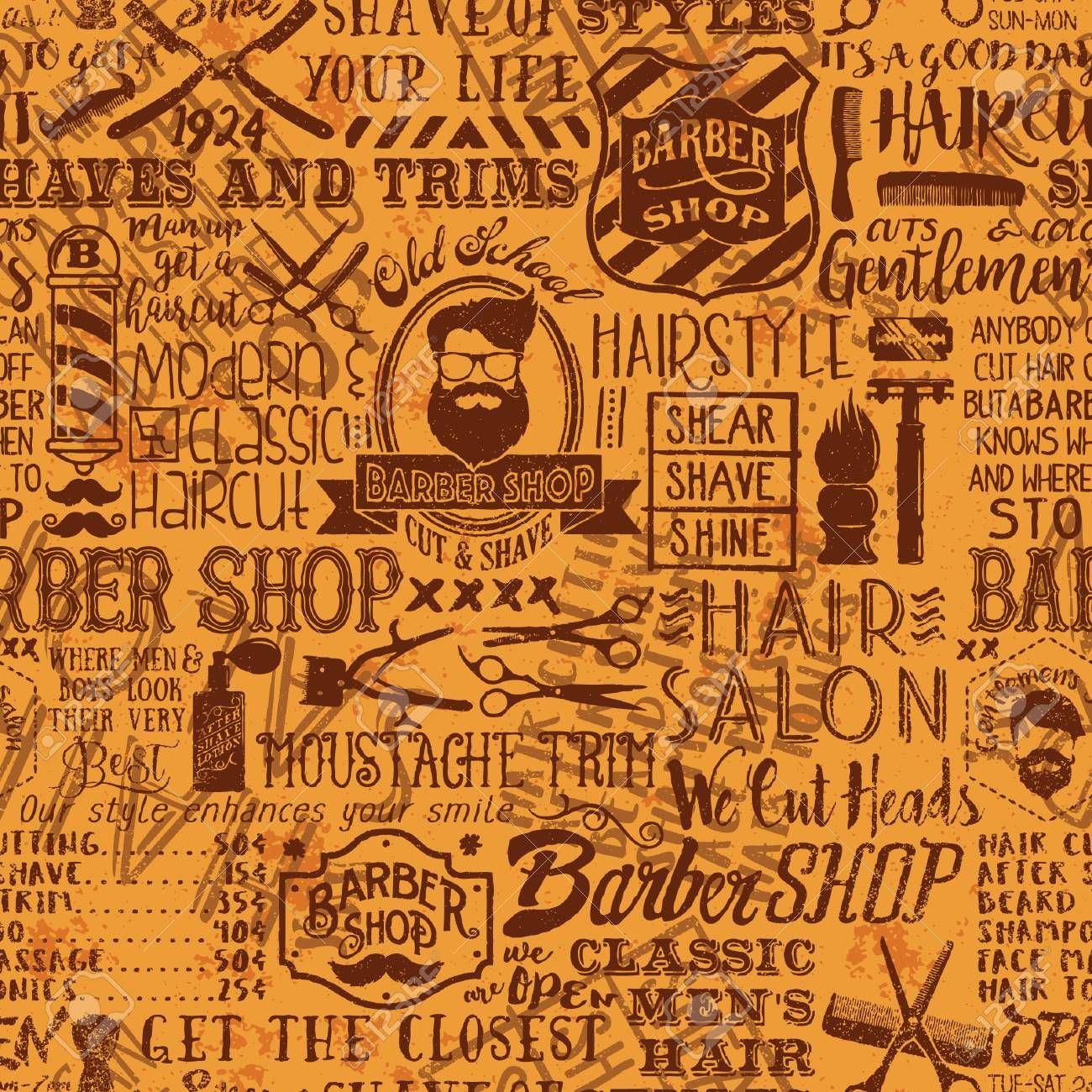 Barber Shop Elements And Icons Patchwork Background Vector Grunge Seamless Vintage Wallpaper Pa Vintage Wallpaper Patterns Vintage Wallpaper Pattern Wallpaper