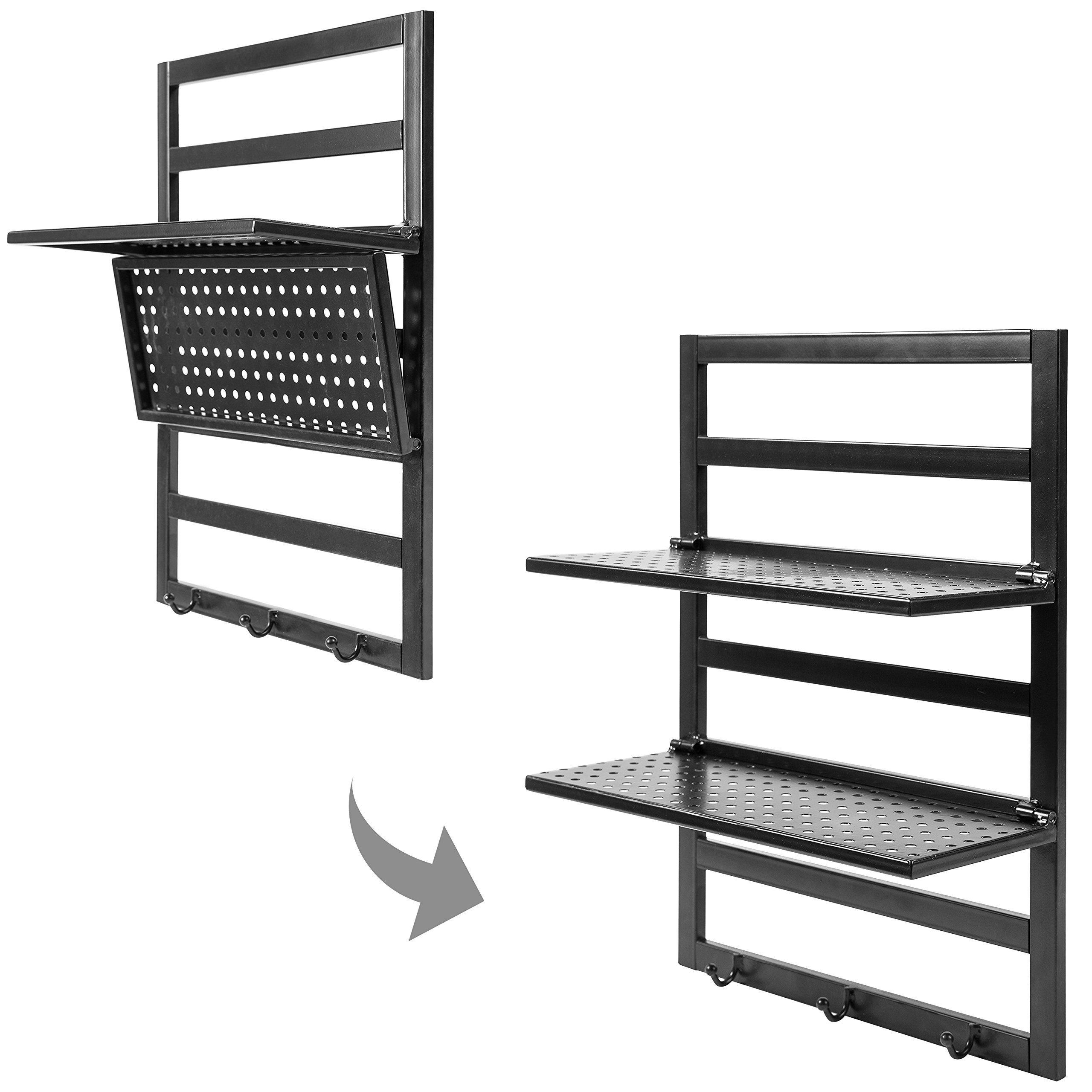 Metal Wall Mounted Perforated Design Folding 2 Tier Shelf Rack
