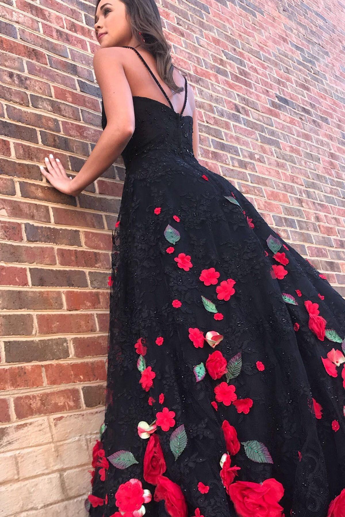94137e187e9a7 black red 3D rose flowers dress #annapromdress #prom #promdress #evening # eveningdress
