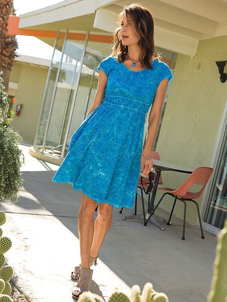 Shop our Women's Chic Batik Dress. Cotton knit A-line dress with a flattering raised waist sways with island spirit and mainland style. Also in Petite & Plus Sizes.
