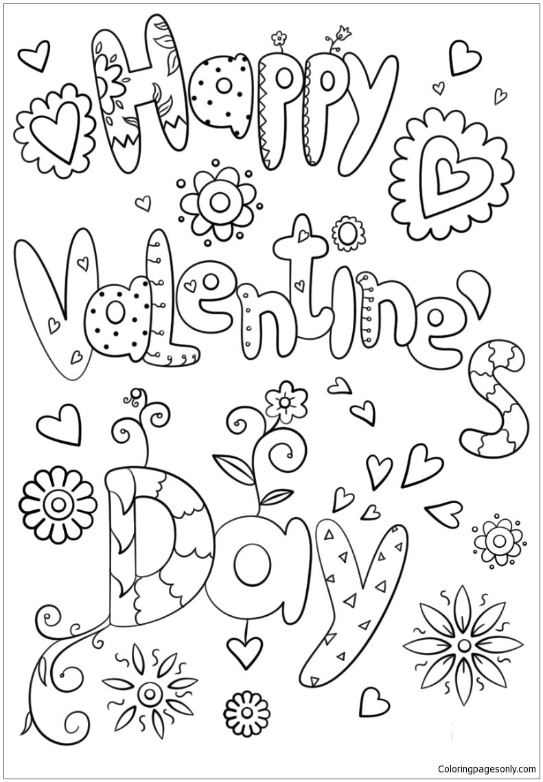 Happy Valentine S Day Coloring Page  Printable valentines