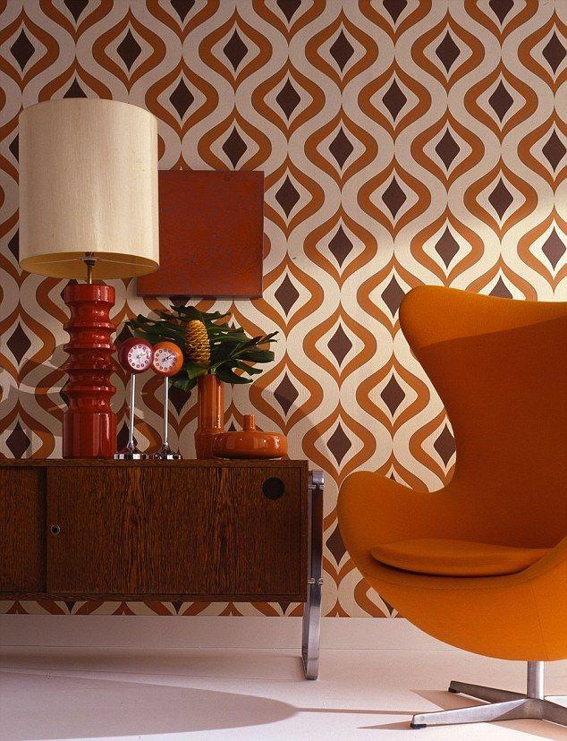 The future's orange: Arne Jacobsen Egg chair in orange Danish wool, £599, interioraddict.com; Harlequin lamp, from £220, heals.co.uk; Trippy wallpaper, £18 per roll, grahambrown.com