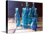 Turquoise Glass Bottles .